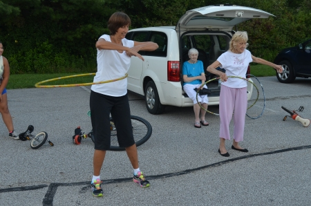 Jackie and Aunt Ruth demonstrate their hula hoop skills