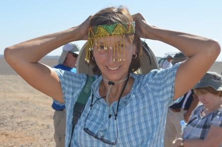 Jackie tries on some headgear