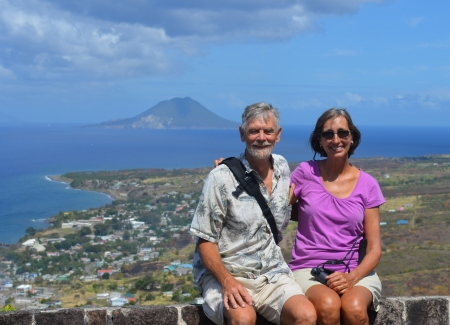 Jackie and I at the fort with Statia (St. Eustatius) in the background