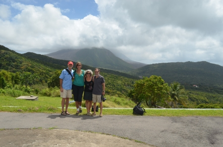 Jack and Bobbi from Moonrise pose with us at the observation center with the volcano in the background