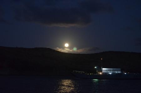 Ferry under full moon in Majors Bay