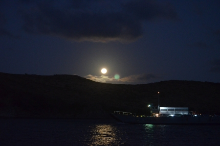 Ferry under full moon in Majors Bay