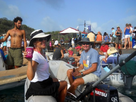 Friends having fun at the dinghy concert
