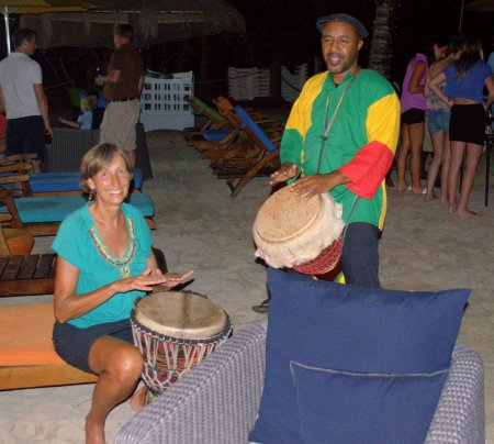 Jackie drums with Monty on the beach